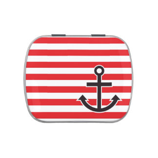 Nautical Red Striped Anchor Candy Tin
