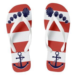 Nautical Red Striped Navy Blue Anchor Seashell Toe Flip Flops