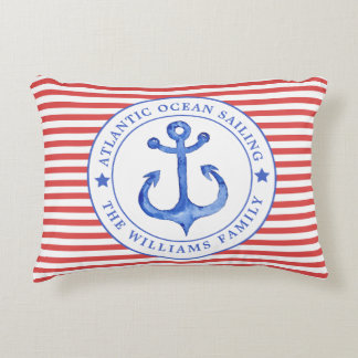 Nautical Red Stripes Personalized Lumbar Pillow