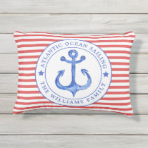 Nautical Red Stripes Personalized Outdoor Pillow