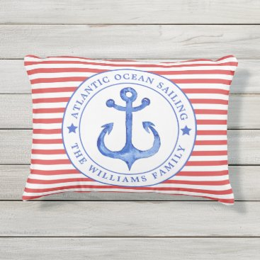 Beach Themed Nautical  Red Stripes Personalized Outdoor Pillow