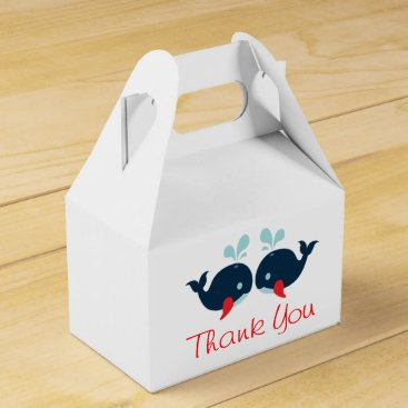 Beach Themed Nautical Red Thank You Navy Blue Whales Wedding Favor Box