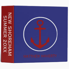 Nautical Red White and Blue Anchor Personalized Binder