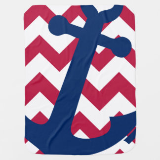 Nautical Red White and Blue Chevron Anchor Swaddle Blanket