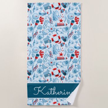 Beach Themed Nautical Red White And Blue Pattern Beach Towel