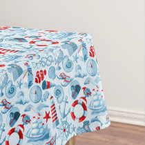Nautical Red White And Blue Pattern Tablecloth