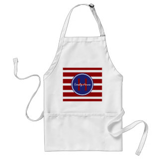 Nautical Red White and Blue Stripes Monogram Adult Apron