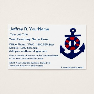 Professional Business Nautical Red White Blue Business Card