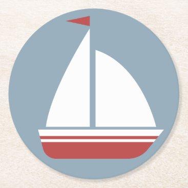 Beach Themed Nautical Red White & Blue Sailboat - Ocean Beach Round Paper Coaster