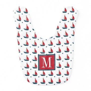 Beach Themed Nautical | Red White Blue Sailboats & Polka Dots Baby Bib