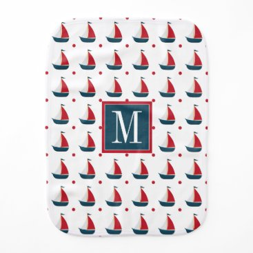 Beach Themed Nautical | Red White Blue Sailboats & Polka Dots Baby Burp Cloth