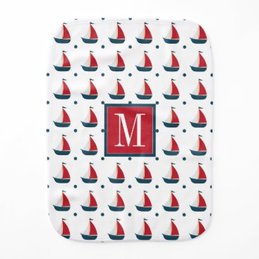 Beach Themed Nautical | Red White Blue Sailboats & Polka Dots Burp Cloth