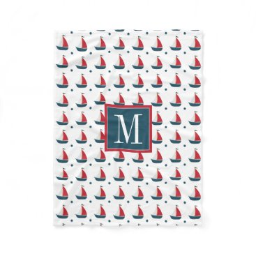 Beach Themed Nautical | Red White Blue Sailboats & Polka Dots Fleece Blanket