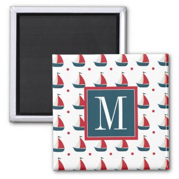 Beach Themed Nautical | Red White Blue Sailboats & Polka Dots Magnet