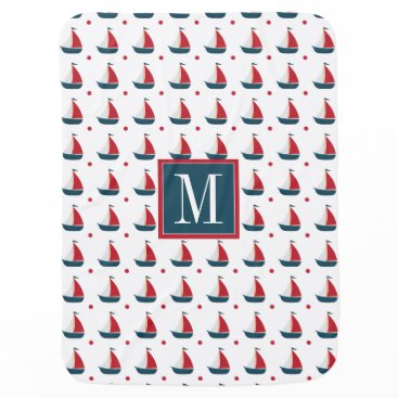 Beach Themed Nautical | Red White Blue Sailboats & Polka Dots Receiving Blanket