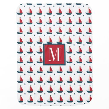 Beach Themed Nautical | Red White Blue Sailboats & Polka Dots Stroller Blanket