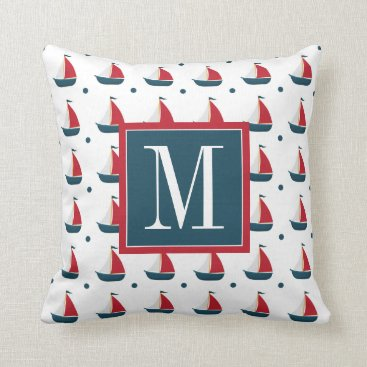 Beach Themed Nautical | Red White Blue Sailboats & Polka Dots Throw Pillow