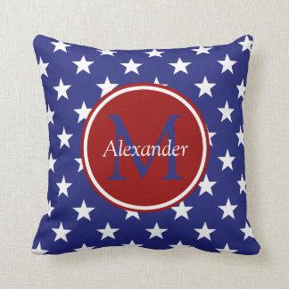 Nautical Red White Blue Stars Monogram Throw Pillow