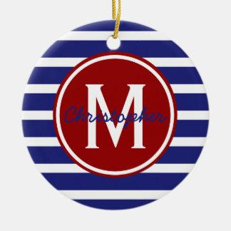 Nautical Red White Blue Stripe Monogram Ceramic Ornament