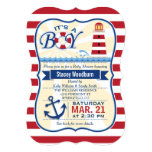 Nautical Red & White Lighthouse Boy Baby Shower 5x7 Paper Invitation Card
