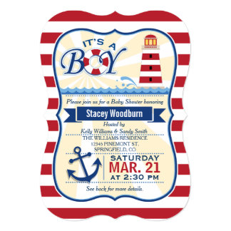 Nautical Red & White Lighthouse Boy Baby Shower Card