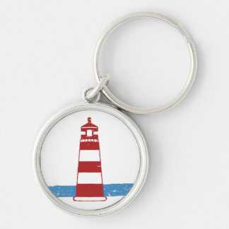 Nautical Red & White Stripe Lighthouse Blue Ocean Keychain