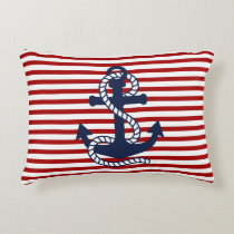 Nautical Red White Stripes and Blue Anchor Accent Pillow