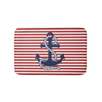 Nautical Red White Stripes and Blue Anchor Bathroom Mat
