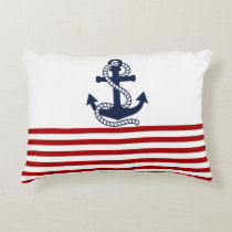 Nautical Red White Stripes and Blue Anchor Decorative Pillow