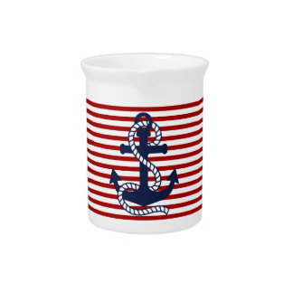 Nautical Red White Stripes and Blue Anchor Pitcher