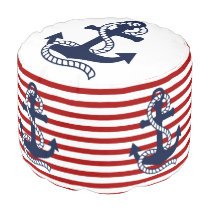 Nautical Red White Stripes and Blue Anchor Pouf