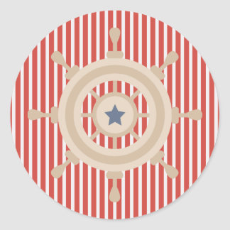 Nautical Red White Stripes and Boats Wheel Sticker