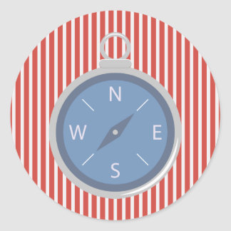 Nautical Red White Stripes and Compass Sticker Round Sticker