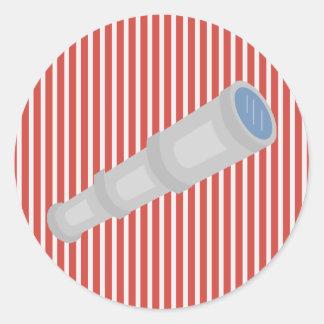 Nautical Red White Stripes and Telescope Sticker Round Sticker