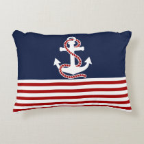 Nautical Red White Stripes and White Anchor Accent Pillow