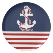 Nautical Red White Stripes and White Anchor Melamine Plate