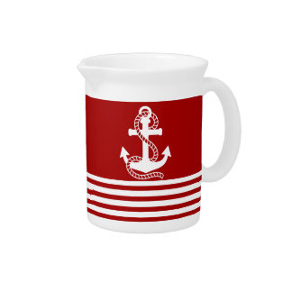 Nautical Red White Stripes and White Anchor Pitcher