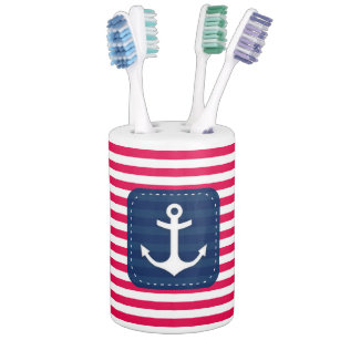 Nautical Red White Stripes Navy Blue Banner Anchor Bathroom Set