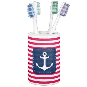 Etonnant Nautical Red White Stripes Navy Blue Banner Anchor Bathroom Set