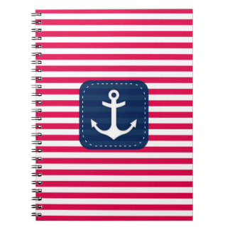 Nautical Red White Stripes Navy Blue Banner Anchor Notebook
