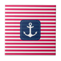 Nautical Red White Stripes Navy Blue Banner Anchor Tile