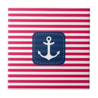 Nautical Red White Stripes Navy Blue Banner Anchor Tile