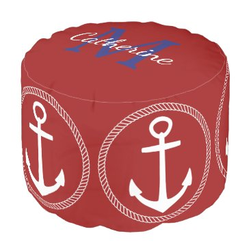 Beach Themed Nautical Red With White Anchor Monogram Pouf