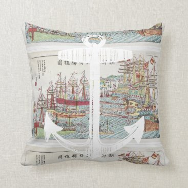 Beach Themed Nautical Red Yellow Blue Anchor Tall Ships Throw Pillow