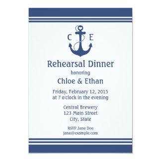 "Nautical Rehearsal Dinner 5"" X 7"" Invitation Card"