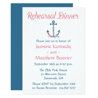 Nautical Rehearsal Dinner Anchor Blue And Pink Card