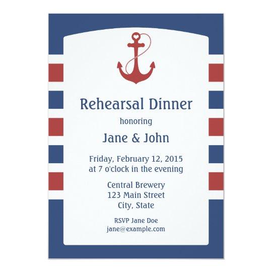 Nautical Rehearsal Dinner Card | Zazzle
