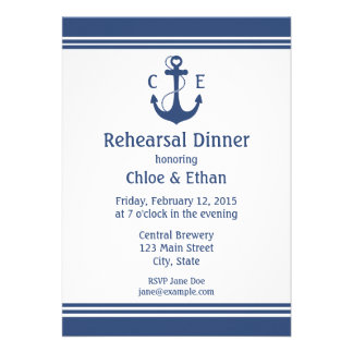 Nautical Rehearsal Dinner Personalized Announcements