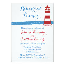 Nautical Rehearsal Dinner Lighthouse Blue Stripes Invitation