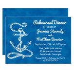 Nautical Rehearsal Dinner Ship Anchor Navy Blue Card